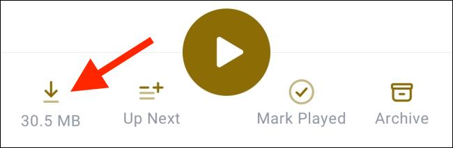 Toque el botón Descargar para guardar un episodio individual.