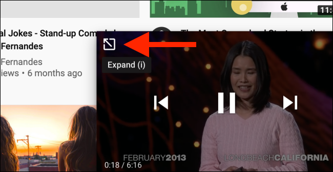 Tap on the Expand button to go open the video page