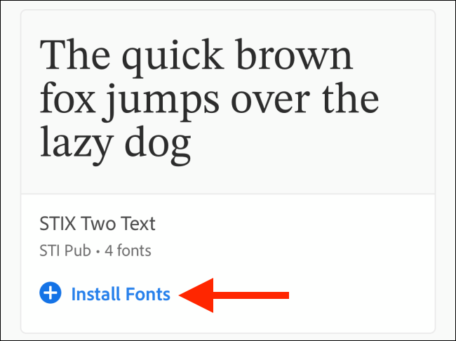 Tap on the Install Fonts button