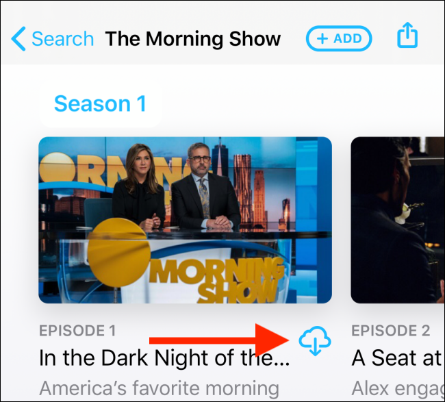 Tap on the download button from the show's page