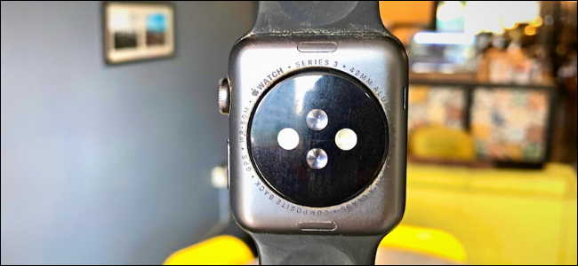 The back of Apple Watch Series 3 showing details about the watch