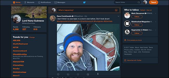 A Twitter feed in Dark mode.
