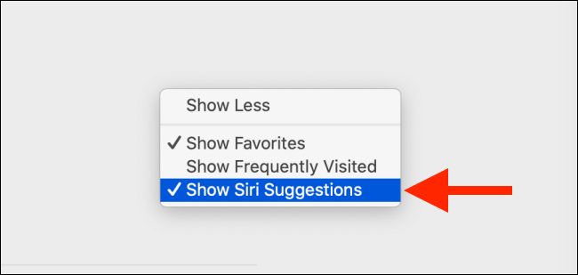 Uncheck Show Siri Suggestions option on Mac