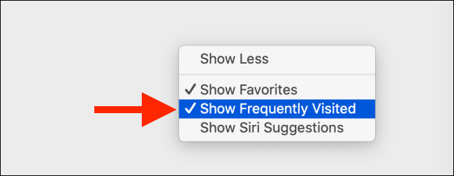 Uncheck on Show Frequently Visited Sites option on Mac
