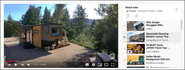 Watch Later Playlist view while playing a video