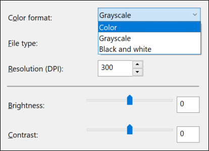 Windows Fax and Scan Color Format
