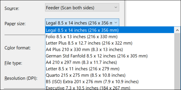Windows Fax and Scan Paper Size