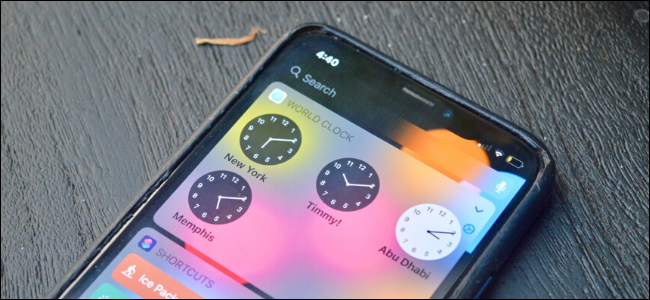 A World Clock widget on an iPhone
