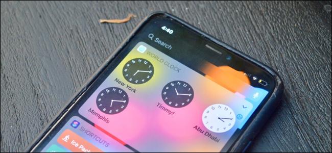 A World Clock widget on an iPhone