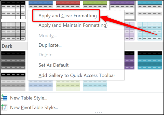 Apply and Clear Formatting when applying tables