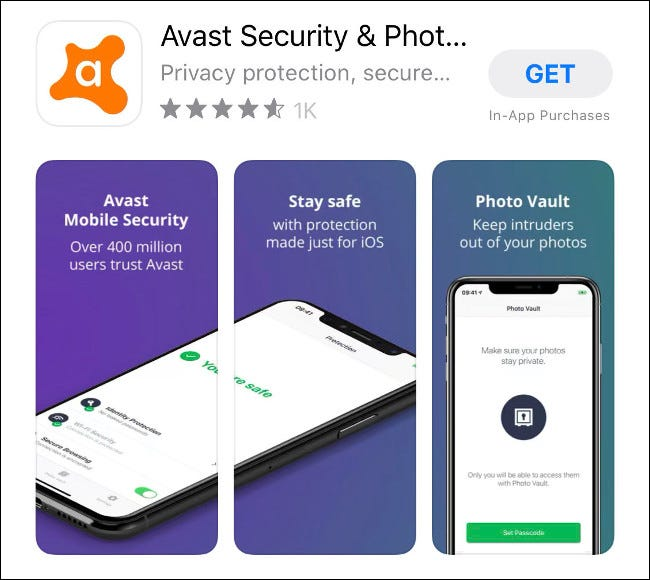 The Avast Mobile Security app for iOS in the App Store.