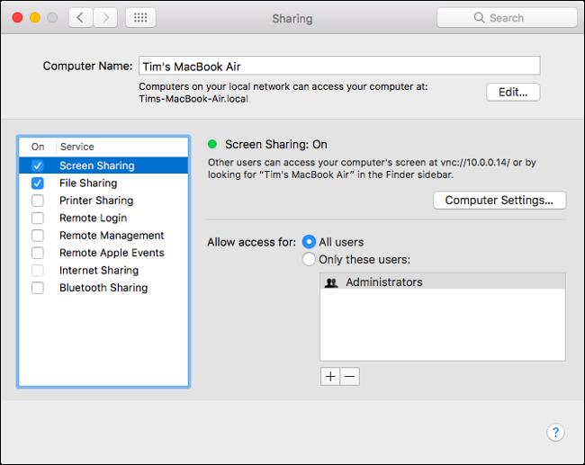 The Sharing menu on a MacBook Air.