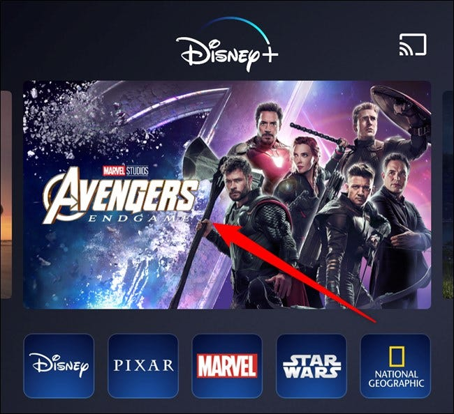 Disney+ App Select a Movie