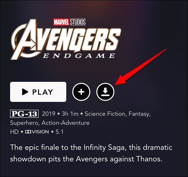Disney+ App Tap Download Button