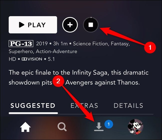 Disney+ App Select Downloads Tab