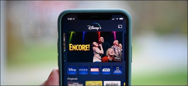 Disney+'s home screen on an iPhone.