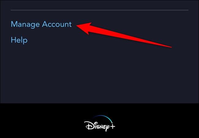 Disney+ Tap Manage Account