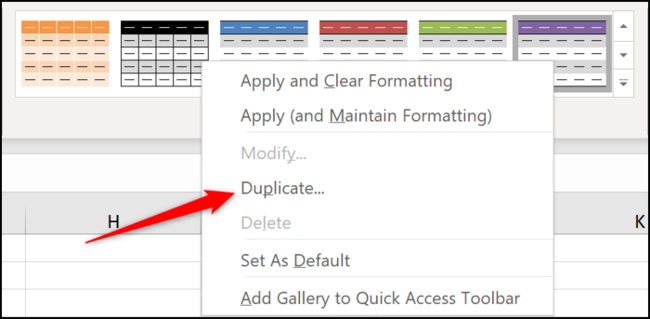 Duplicate an existing table style