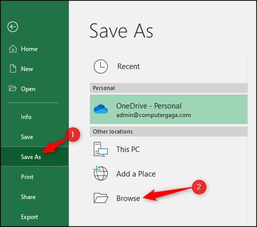 Guardar como tipo de archivo diferente en Excel