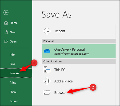 Save as as different file type in Excel