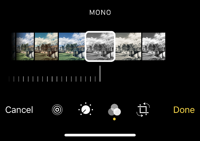 The Filters selection menu in the iPhone Photos app.