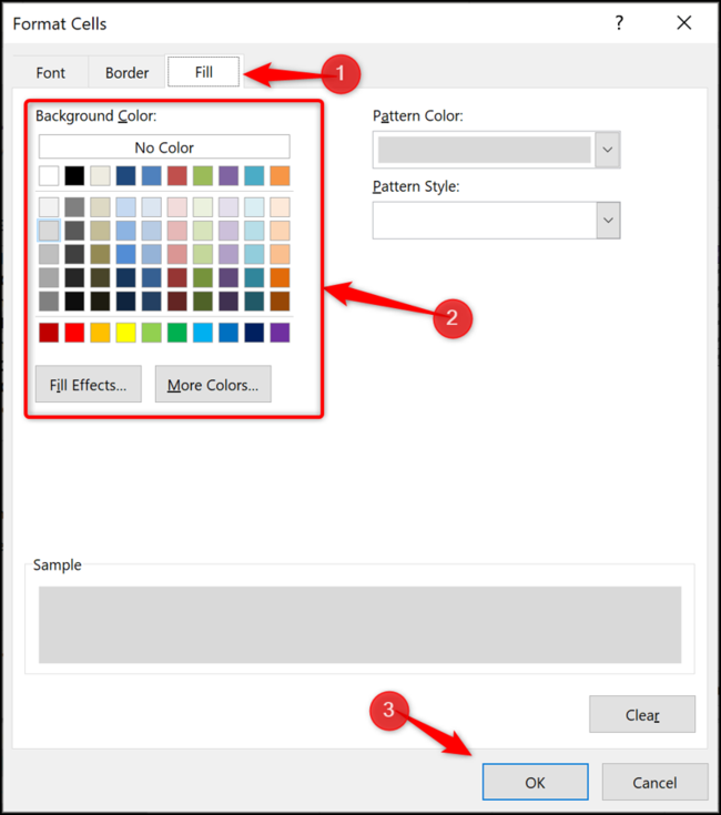 Change the fill colour of a table row