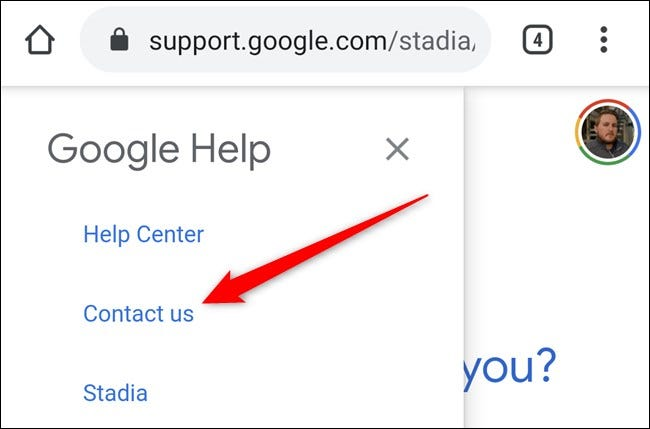 Google Stadia App Click Contact Us Link