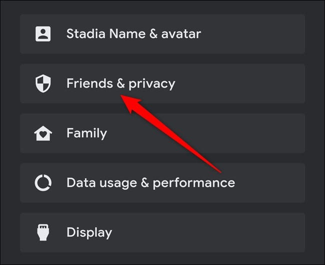 Google Stadia App Click Friends & Privacy
