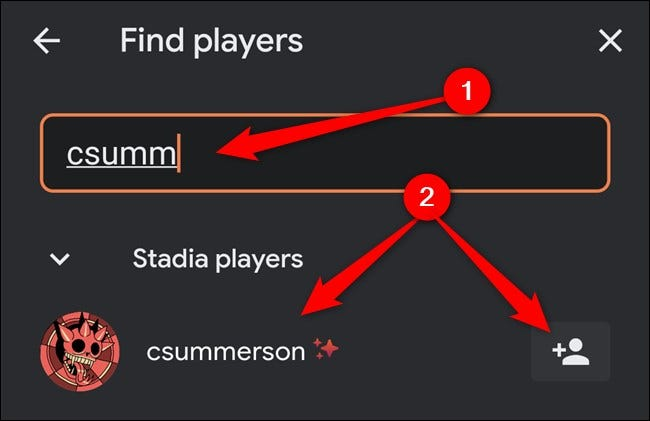 Google Stadia App Type in Username and then click user or add button