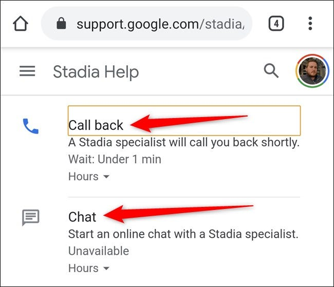 Google Stadia App Select Call Back or Chat