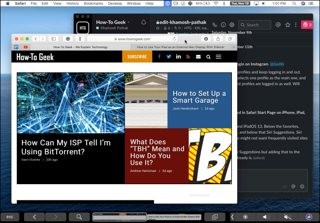An iPad using Duet to show a Mac's screen.
