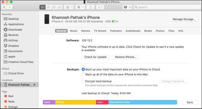 iPhone management screen Finder