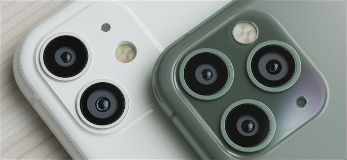 iPhone 11 and iPhone 11 Pro camera lenses.
