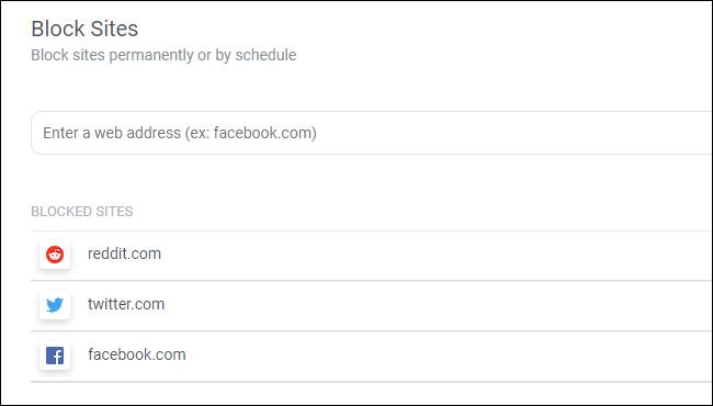 Bloqueo de sitios web con la extensión de texto del navegador Block Site Chrome.