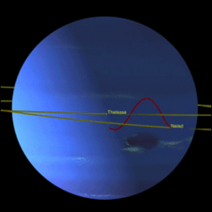 A computer rendering showing the orbital patterns of Neptune's two inner moons