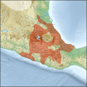 A map showing the regions of Central America where the Aztec empire existed