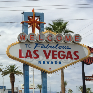 A photograph of the 1950s era Welcome to Las Vegas sign