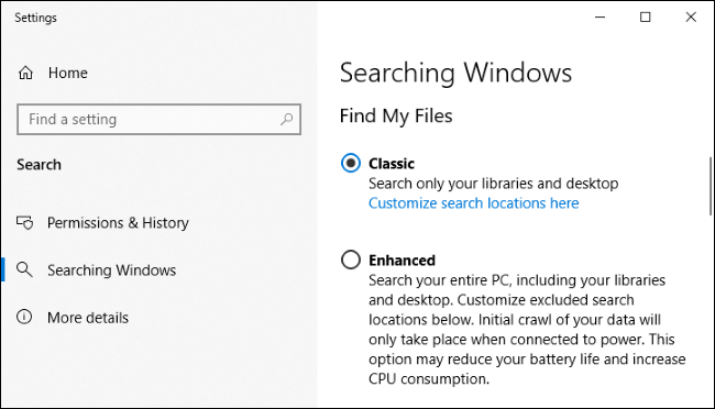 Windows 10's indexing settings.