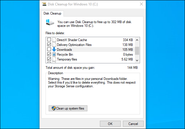 Disk Cleanup showing the Downloads folder on Windows 10's November 2019 Update.
