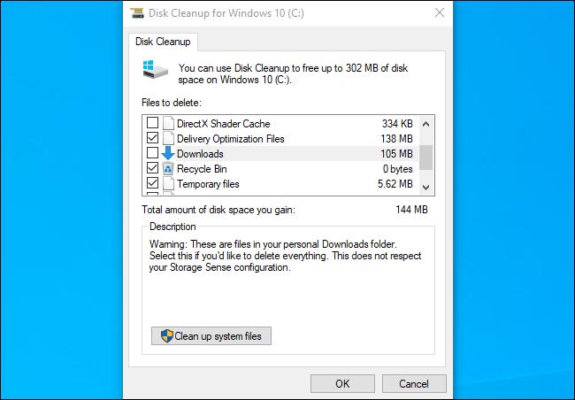 Disk Cleanup showing the Downloads folder on Windows 10's November 2019 Update.
