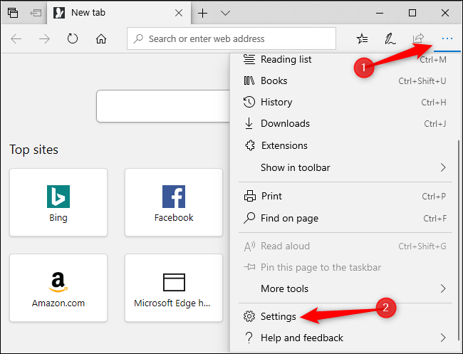 Opening Microsoft Edge's Settings menu.