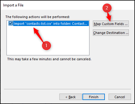 Confirm import contacts actions