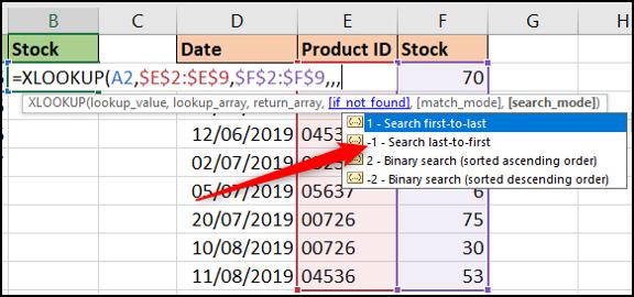 Opciones del modo de búsqueda con XLOOKUP