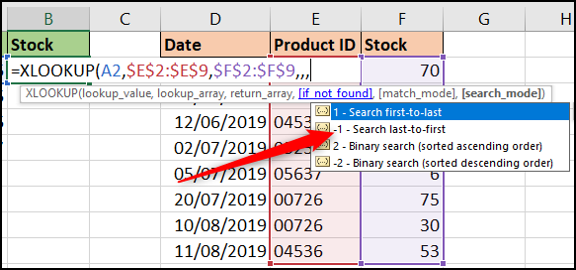 Search mode options with XLOOKUP