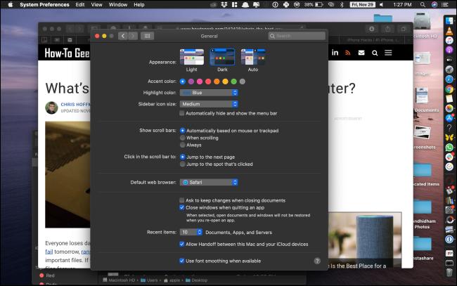 macOS interface in dark mode