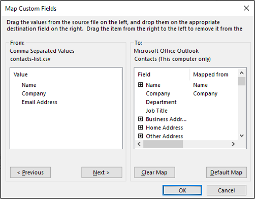 Mapping fields when importing contacts