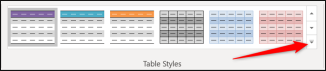 Open the table styles gallery