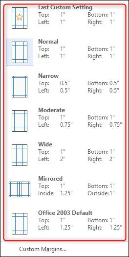 predefined page margins