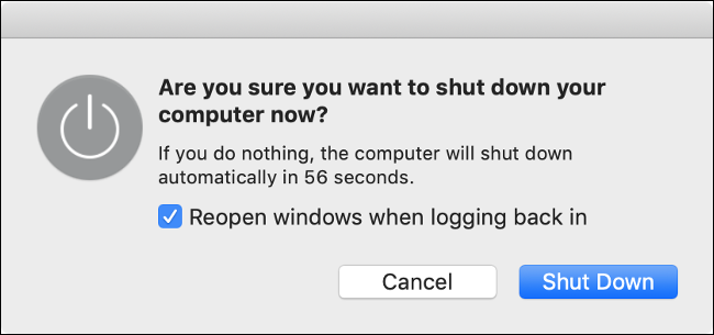 "The ""Are you sure want to shut down your computer now?"" popup on macOS."