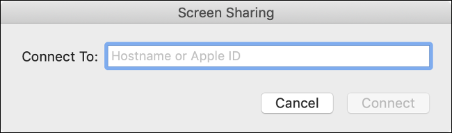 "The ""Connect To:"" line in the ""Screen Sharing"" box."